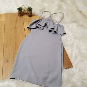 Boohoo Gray Ruffle Mini Dress NWT #
